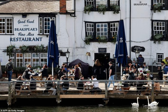 There was room for a drink and a bite to eat at The Angel on the Bridge in Henley-on-Thames in west London this afternoon