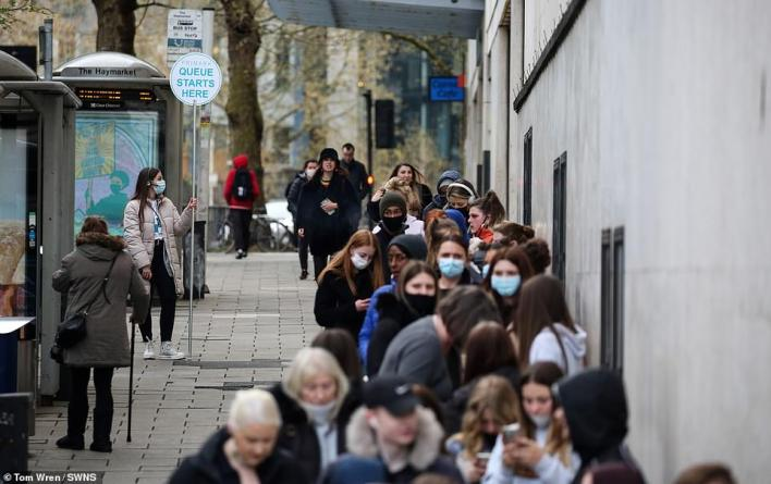 Queues outside Primark in Bristol this morning as shops reopen after lockdown, with the high street set for a spending boost