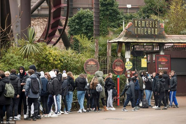 A long queue forming for the Nemesis Inferno ride in Thorpe Park near Staines-upon-Thames in Surrey