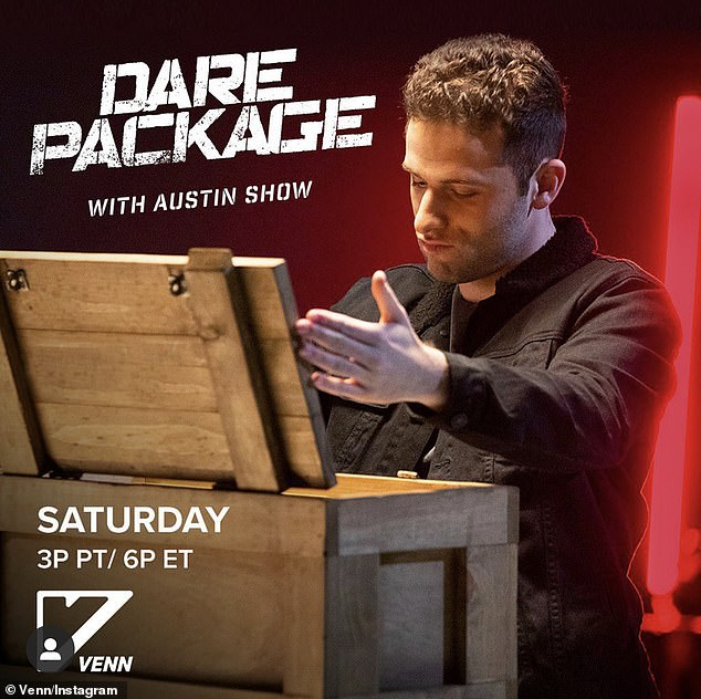 Behind the scenes: Taylor's last gig served as the field production manager for Venn's game show, Dare Package with Austin Show, last year