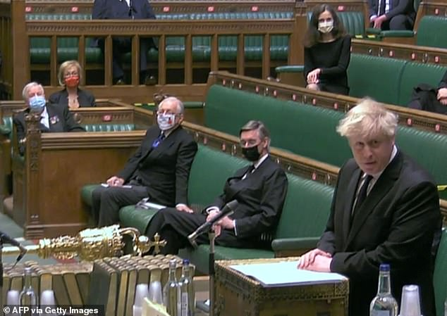 Boris Johnson speaking during a Humble Address expressing the sympathies of the House on the death of Britain's Prince Philip, Duke of Edinburgh, at the House of Commons on April 12