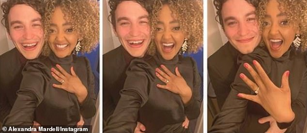 Along with a cute snap with her new fiancee, Alexandra wrote: 'Love locked !!  1,000,000 times yes!  You make me so happy, my face hurts!  I love you ridiculously.  Future Mrs. Parker '