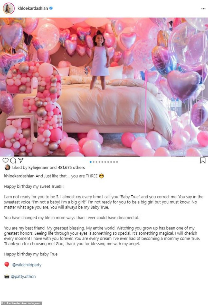Proud mom: In the afternoon, Khloe shared a series of snaps of True with a sweet message