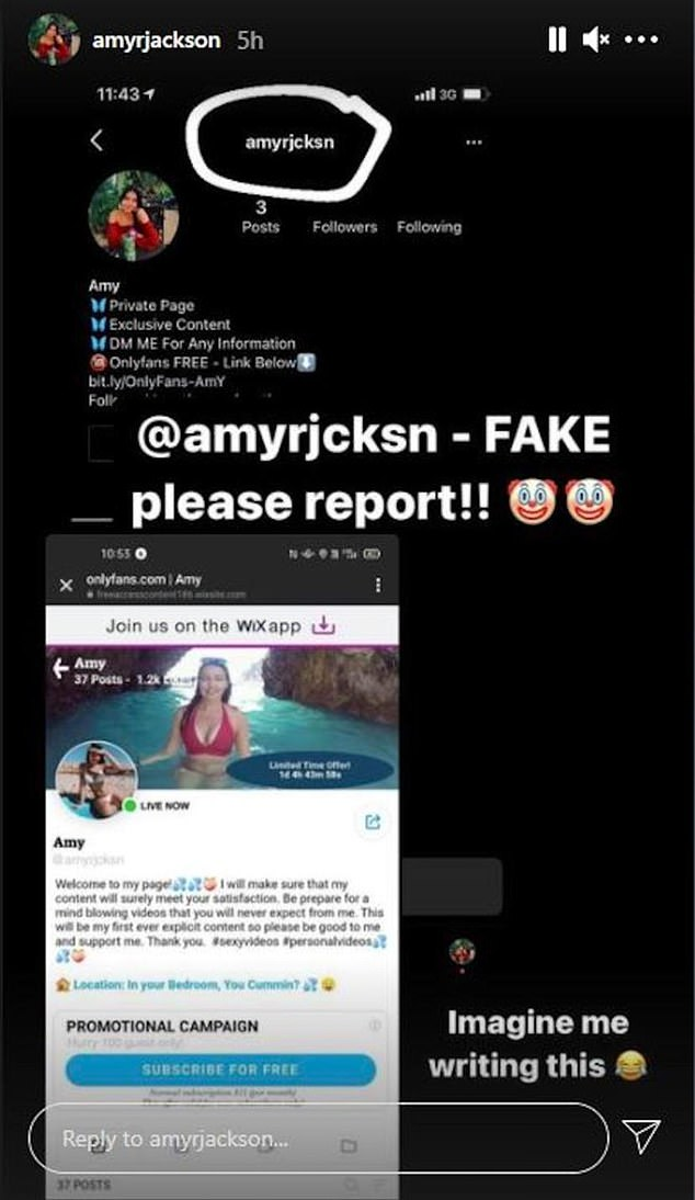 The fake account was removed from Instagram just hours after Ms Jackson reported it, who has since privatised her personal account