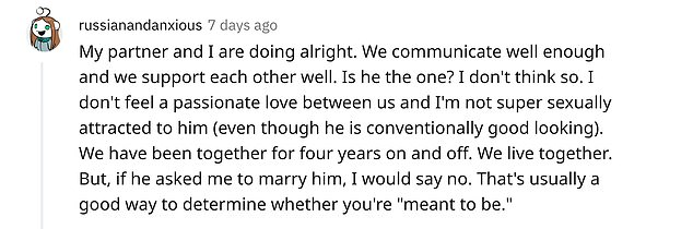 Relatable: Many of the women who commented in the thread said they love their partners but aren't in love with them