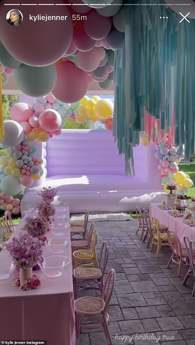 All out: The party featured a lavish dessert table, a moon bounce, and an overwhelming amount of pastel decorative touches including balloons that filled the interior and exterior of the home