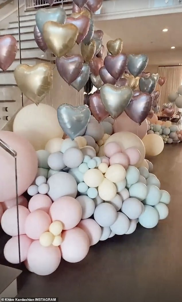 Pastels: The interior and exterior of the Hidden Hills mansion was lined with tons of balloons