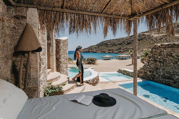 An opulent suite at the Calilo Hotel on Ios. The island of Ios has 36 beaches, many of which can be reached only by sea