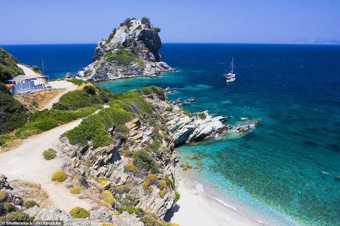 The stunning island of Skopelos where the hit film Mamma Mia! was filmed