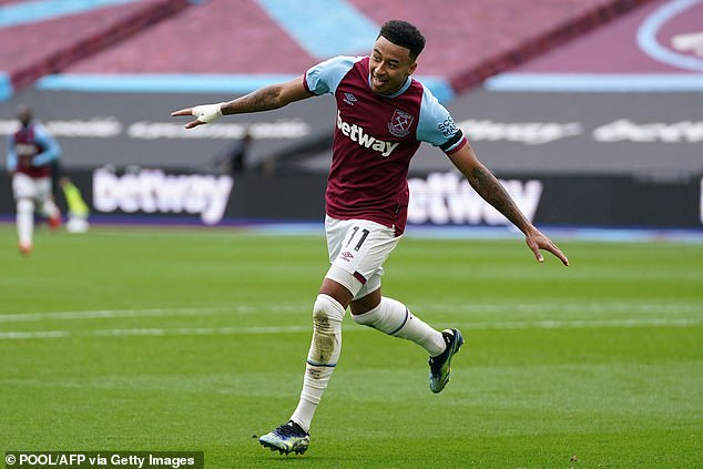 On fire: Lingard's fine form at West Ham continued with two goals taking his tally to eight last weekend