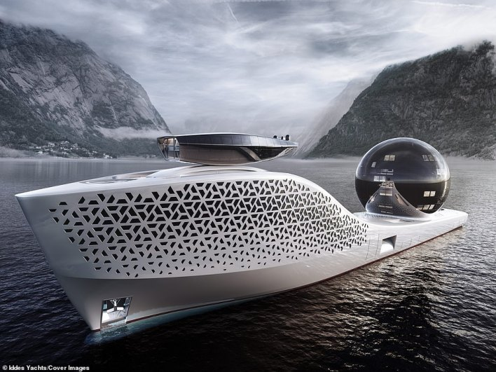 An emission-free 'nuclear powered' 984ft-long science exploration vessel, as large as the world's longest cruise ship will launch in 2025 with 22 cutting edge laboratories and over 400 people on board