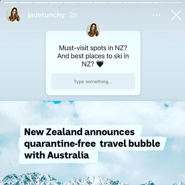 'Must-visit spots in NZ? And best places to ski in NZ?' The model had uploaded a post asking fans for advice about where to travel in New Zealand