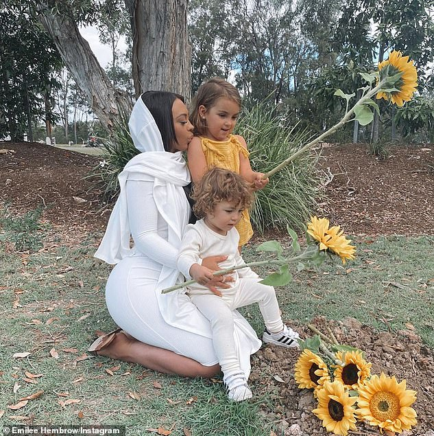Sad loss: Back in June, Emilee shared the heartbreaking news that she had lost her son Jamal Reign Ada while 30 weeks pregnant. Pictured is Emilee at her son Jamal'sgrave