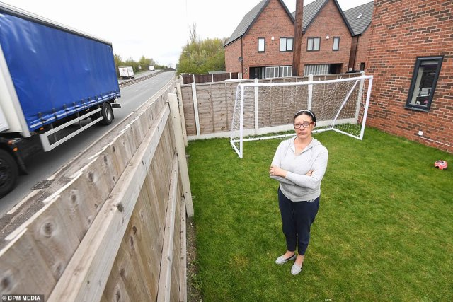 Warwickshire County Council said it was aware of the problem and will consider 'very carefully' whether to recommend possible solutions. Pictured, Mrs McCormack and the road
