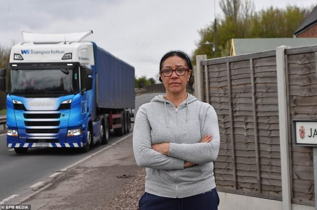 She said she and her husband spent their first night in the house, which borders the A446 Lichfield Road, on a Friday but by the next morning the noise 'was absolutely horrendous'. Pictured, a lorry travels along the road nine feet from Mrs McCormack's garden fence