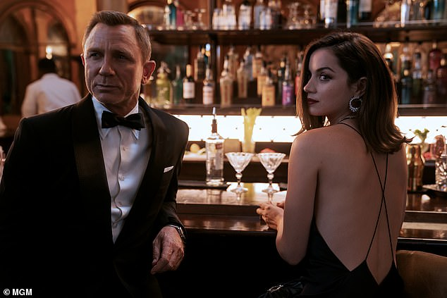 The name's Bond:In another interview last month, Idris confirmed once more that a Luther film is 'definitely coming' while admitting his mum still believes he will take on the role of James Bond (pictured James Bond actor Daniel Craig in the new film No Time To Die)
