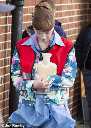 Getting involved: Eleanor wore a high-visibility vest as she prepared to carry out community service as Gabby, one of the show's central characters