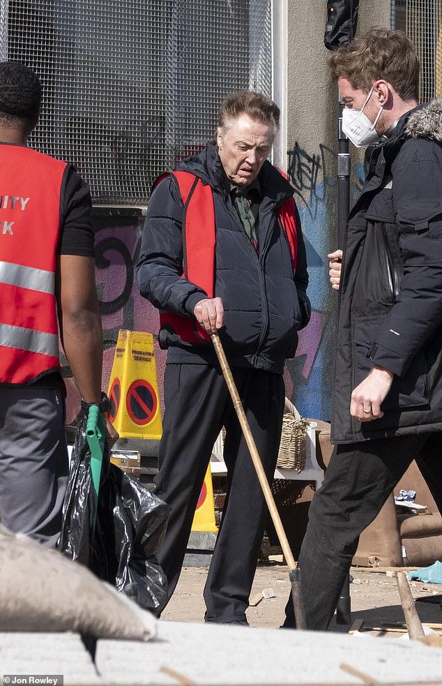When push comes to shove: Walken grabbed a broom