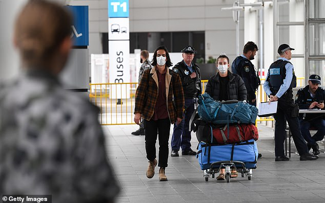 Passengers at Sydney International Airport arrive after flying in from Auckland, New Zealand on September 18, 2020