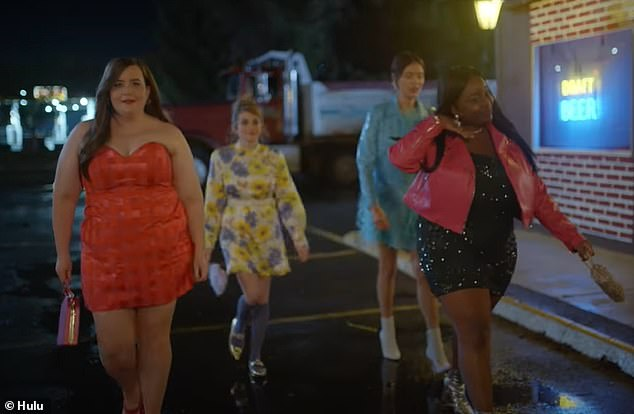 In the two-minute preview, Annie glams up for a girls' night out with her BFF Fran (2-R, Lolly Adefope) and co-workers Maureen (2-L, Jo Firestone) and Ruthie (R, Patti Harrison)