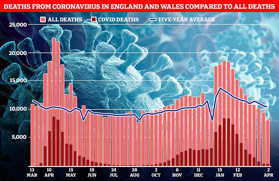 ONS figures showed 400 deaths were linked to Covid in the week to April 2, the most recent. For comparison, this is the lowest level of Covid deaths since October 2