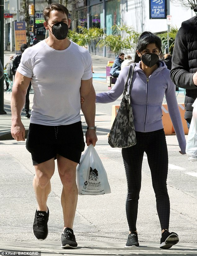 Lunch run: John Cena, 43, and wife of six months Shay Shariatzadeh make a food run in Vancouver on an off day from filming his new series Peacemaker