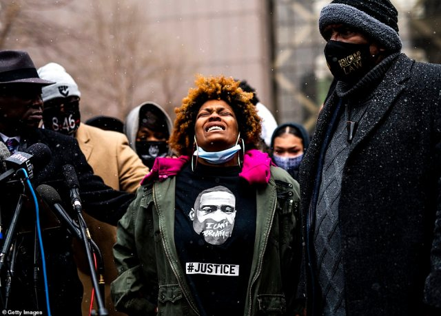 Naisha Wright, aunt of Daunte Wright, speaks as she is joined by members of George Floyd's family during a press conference outside the Hennepin County Government Center