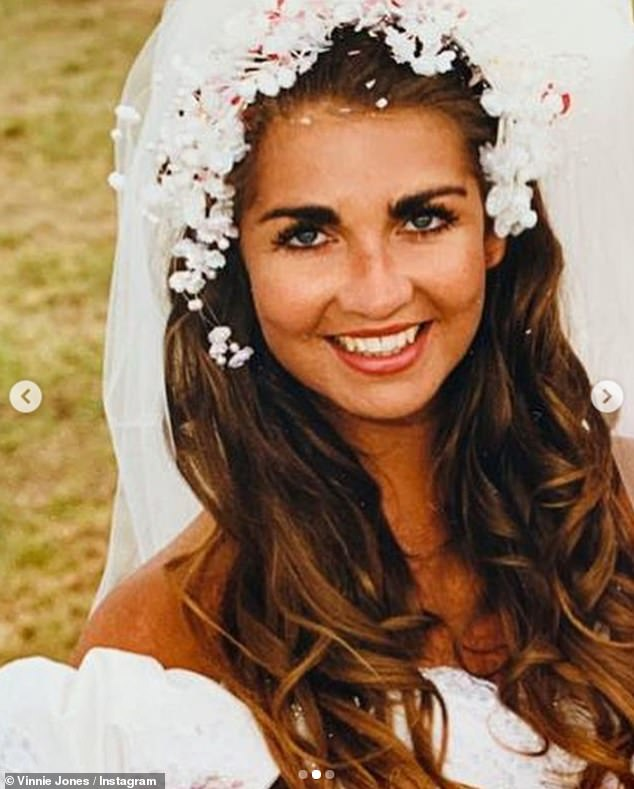 Touching: Vinnie, who spoke candidly about her grief after her death, shared the sweet back snaps on Instagram, including one from their wedding day