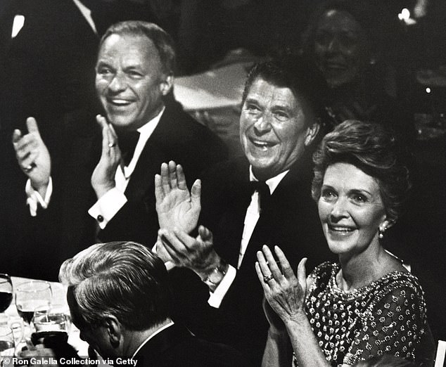 The new book also sheds light on the Reagans close relationship to Frank Sinatra. The couple are pictured at an event with the crooner in 1980