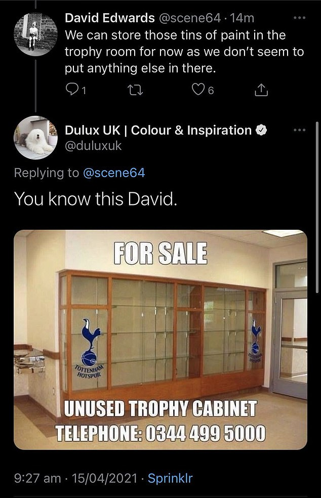 However, Dulux's official Twitter account poked fun at the club's lack of silverware soon after.