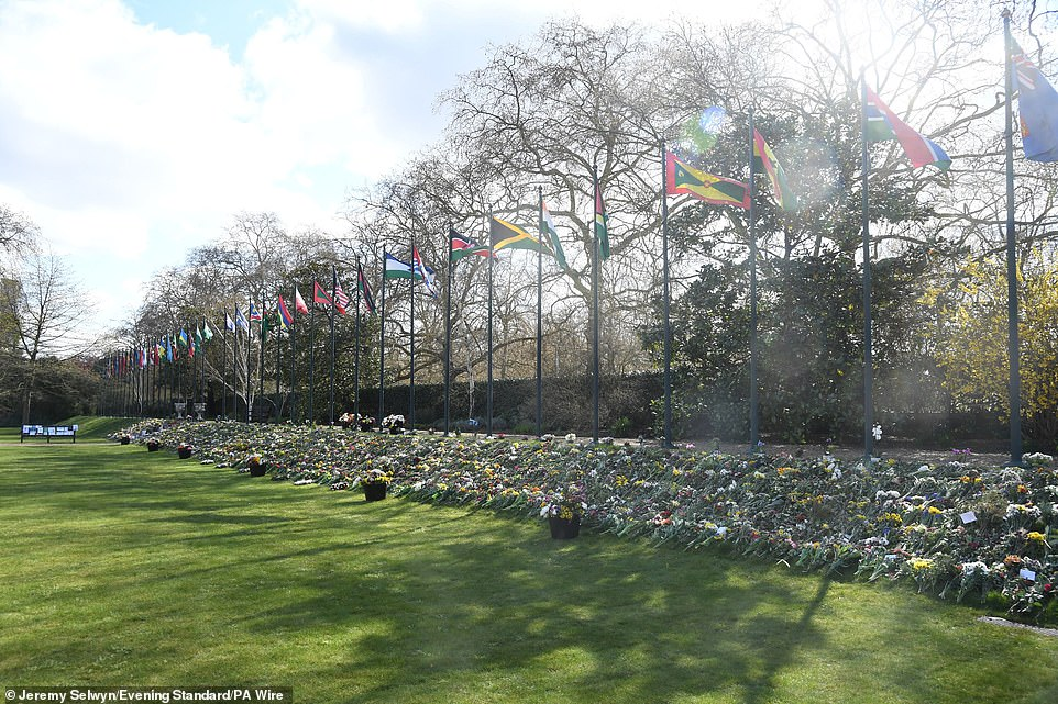 Flowers on display today at Marlborough House in London, which is the headquarters of Commonwealth Foundation