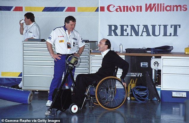 Prost joined the dominant Williams team led by Frank Williams (R) and Patrick Head (L), and his contract prevented the team from signing arch rival Senna for the 1993 season