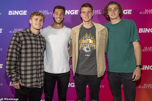 Star-studded: Essendon football players Ned Cahill, Kyle Langford, Jordan Ridley and Harry Jones as attended the event