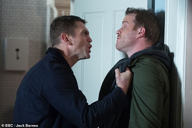 Interesting: It remains to be seen how Jack will react when he finds out about his daughter's cruel online antics (pictured holding Sean Slater against a wall)