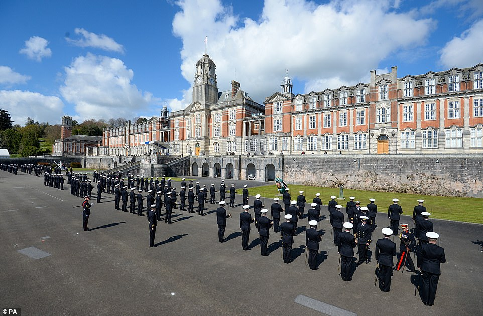 The passing-out parade in Dartmouth today, attended by the PM during his visit in commemoration of the Duke of Edinburgh