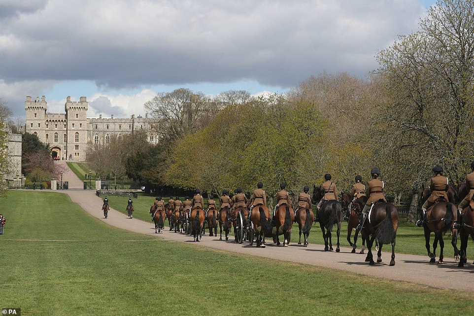 The King's Troop Royal Horse Artillery move up the Long Walk at Windsor Castle today during a rehearsal for the funeral