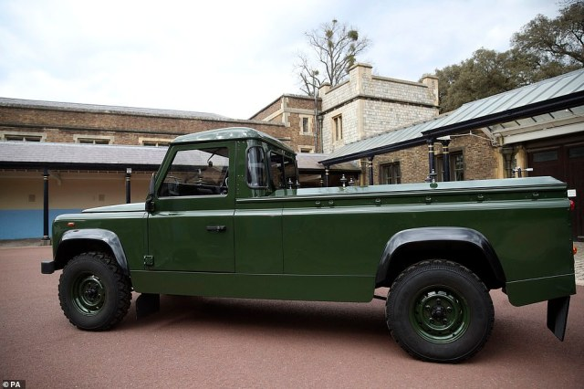 Pictured today, the Jaguar Land Rover that will be used to transport the coffin of the Duke of Edinburgh at his funeral