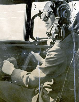 The Duke of Edinburgh at the controls of the 'Beverly' Freighter Aircraft at Blackburn Aircraft Factory in 1956