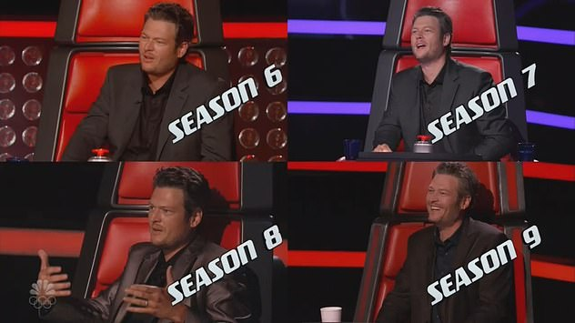 Consistent style: The Voice showed Blake looking the same over the years in an endless parade of gray shirts, vests and blazers, one after the other, after the other