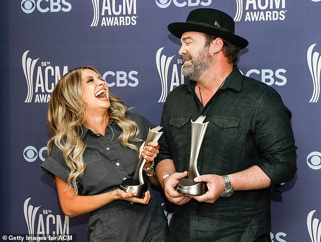 Getting them early: The artists, who collaborated on the 2019 track I Hope You're Happy Now, were given the distinctions ahead of the ACM Awards ceremony, which will take place on April 18th