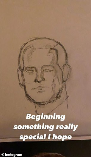 Work in progress: The Strip That Down hitmaker took to his Instagram to detail the portrait's progress as it took shape over several hours.