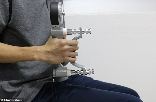 Dynamometers are a small handheld device often with a dial used to measure people's grip strength (stock image)