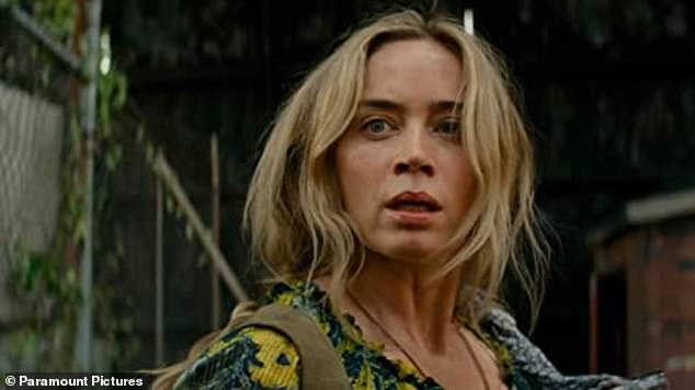 Working: Emily pictured in A Quiet Place