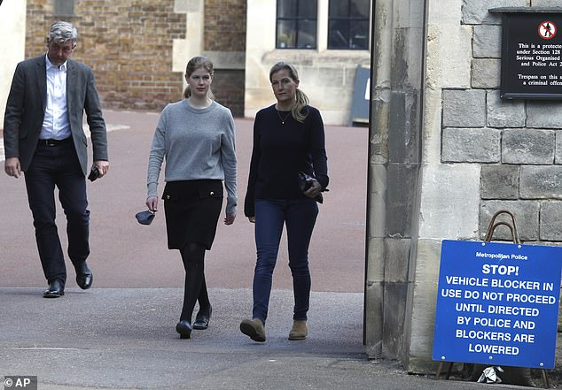 The daughter of Sophie, Countess of Wessex and Prince Edward sported dark clothes for the appearance a day ahead of the funeral of Prince Philip.