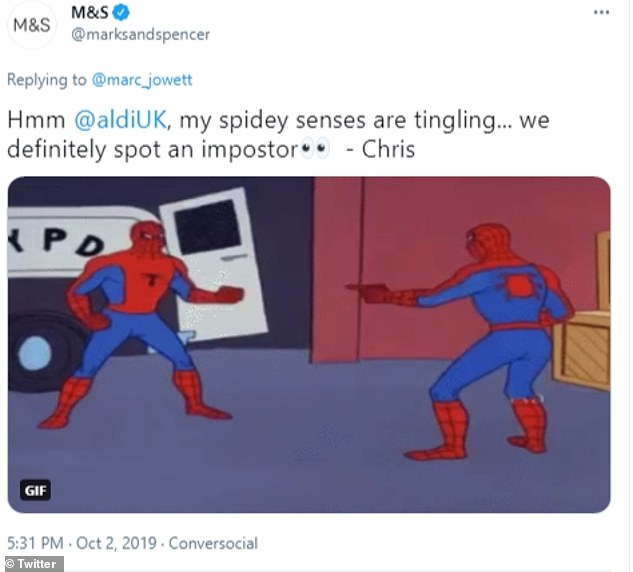 Two years ago M&S responded to a customer's Tweet about Aldi's cake with a picture of spiderman and the comment: 'Hmm, my spidey senses are tingling... we definitely spot an impostor'