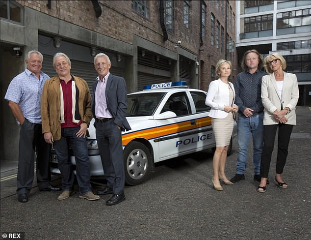 Iconic drama: A source has claimed that the idea for a reboot kicked off after the original cast reconnected in 2020 (six cast members pictured with a vintage police car in 2007)