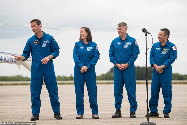 The crew members, (from left to right) Thomas Pesquet, NASA astronauts Megan McArthur and Shane Kimbrough, and Japan Aerospace Exploration Agency (JAXA) astronaut Akihiko Hoshide,, also arrived at the site today to watch the craft make the journey
