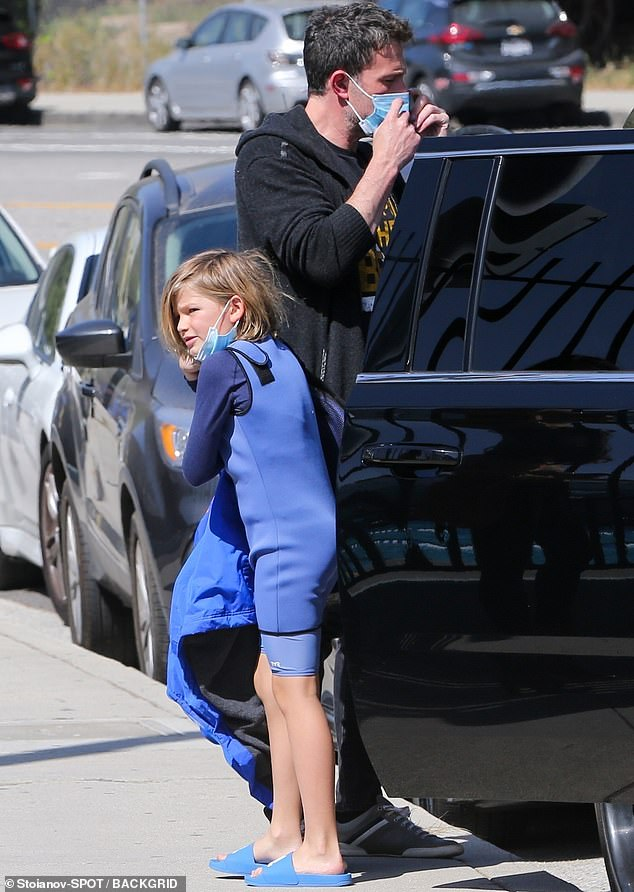 Family time: Ben Affleck was spotted spending some quality time with his nine-year-old son Samuel in Los Angeles on Friday