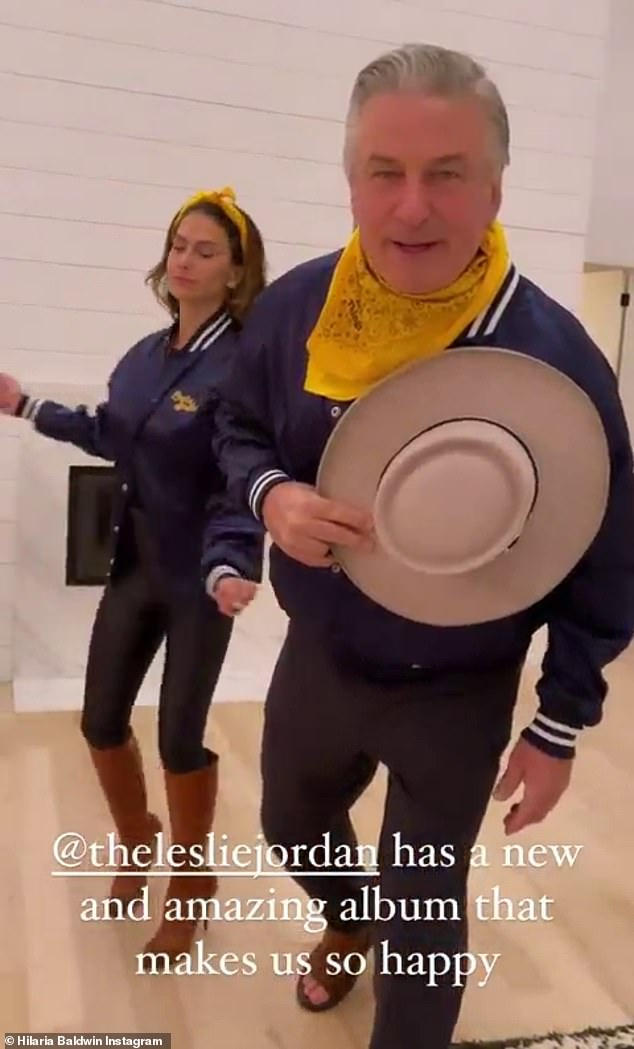 Bust a move: The Baldwins, who will be celebrating nine years of marriage in June, showed off their chemistry by dancing to Leslie Jordan's This Little Light Of Mine ft.  Katie Pruitt