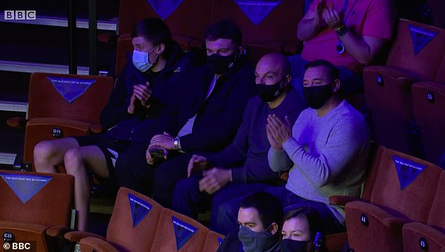 Fans were socially distanced in their groups inside the arena and had to wear masks